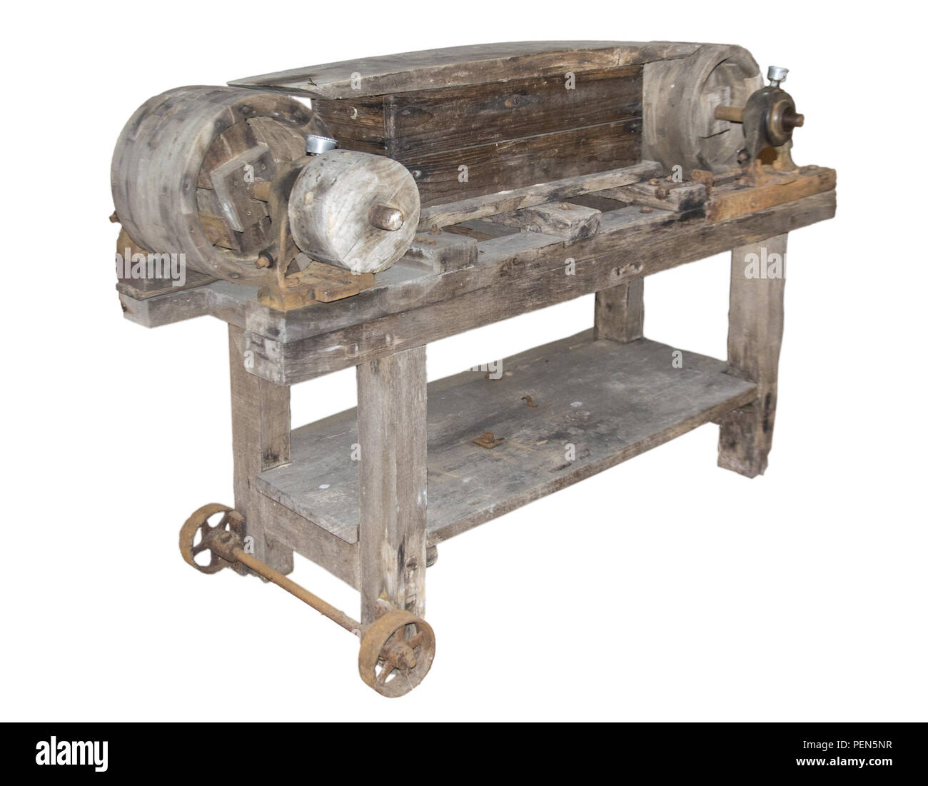 Antiker Bandschleifer aus Holz Stock Photo