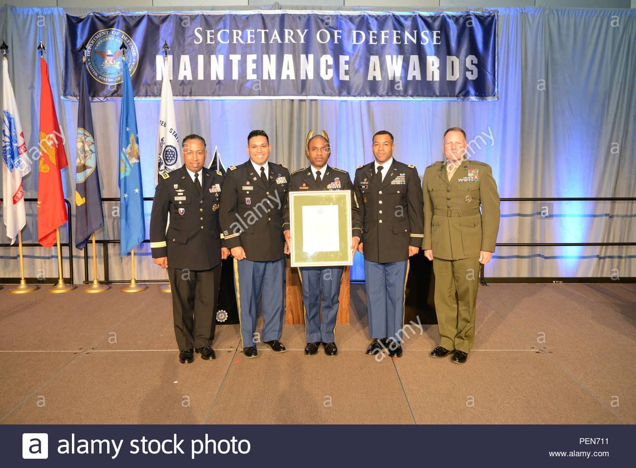Gen  Dennis Via (left), commanding general of Army Material Command