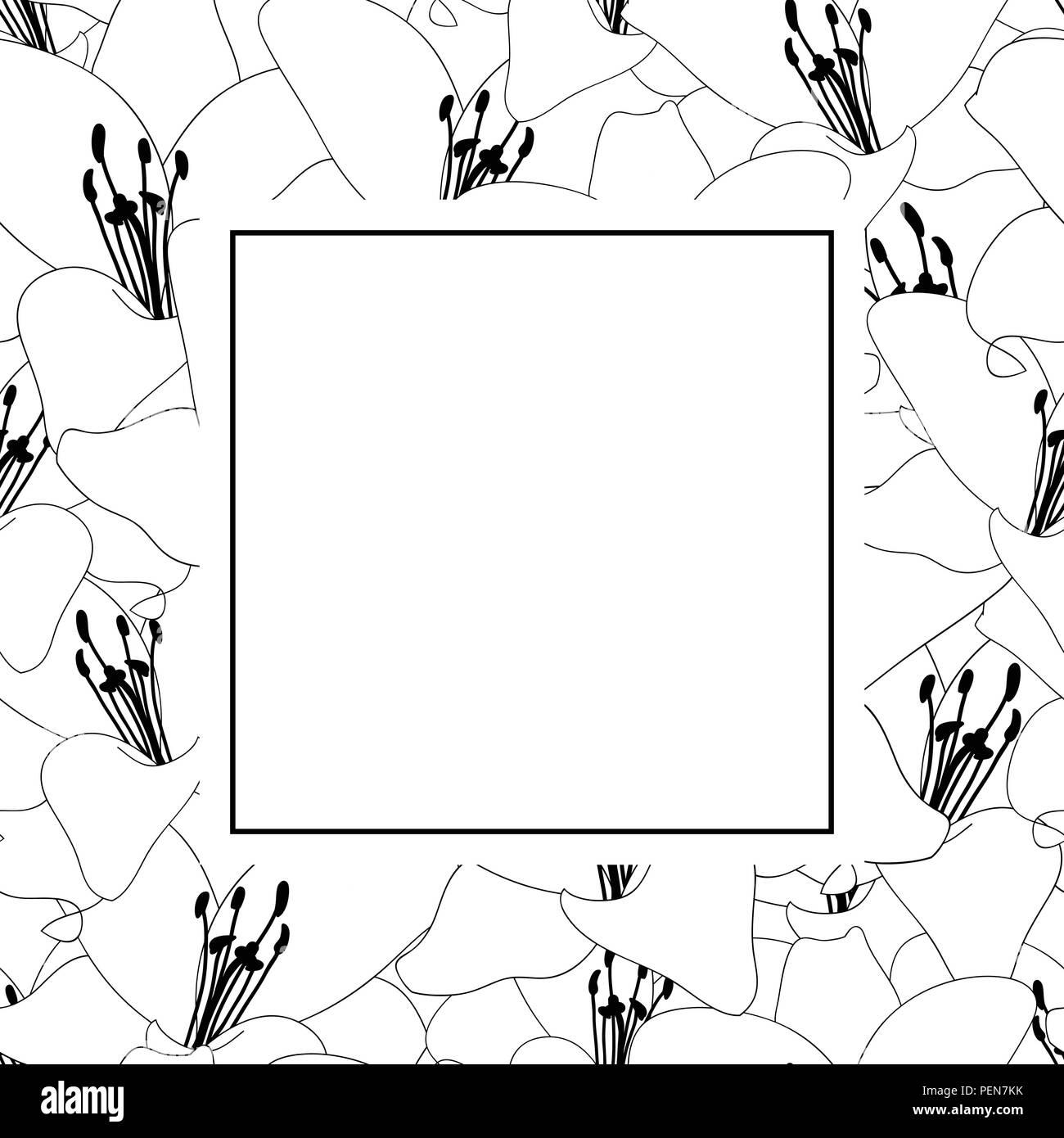 Lily Flower Outline Banner Card Vector Illustration Stock Vector