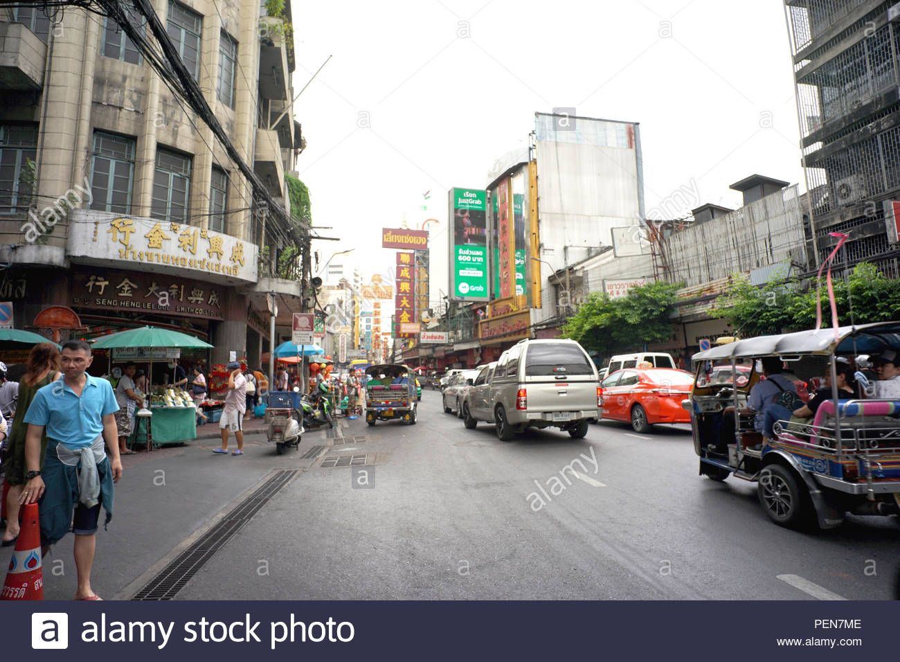 Cars And Shop On Yaowarat Road Chinese Buildings Restaurants And