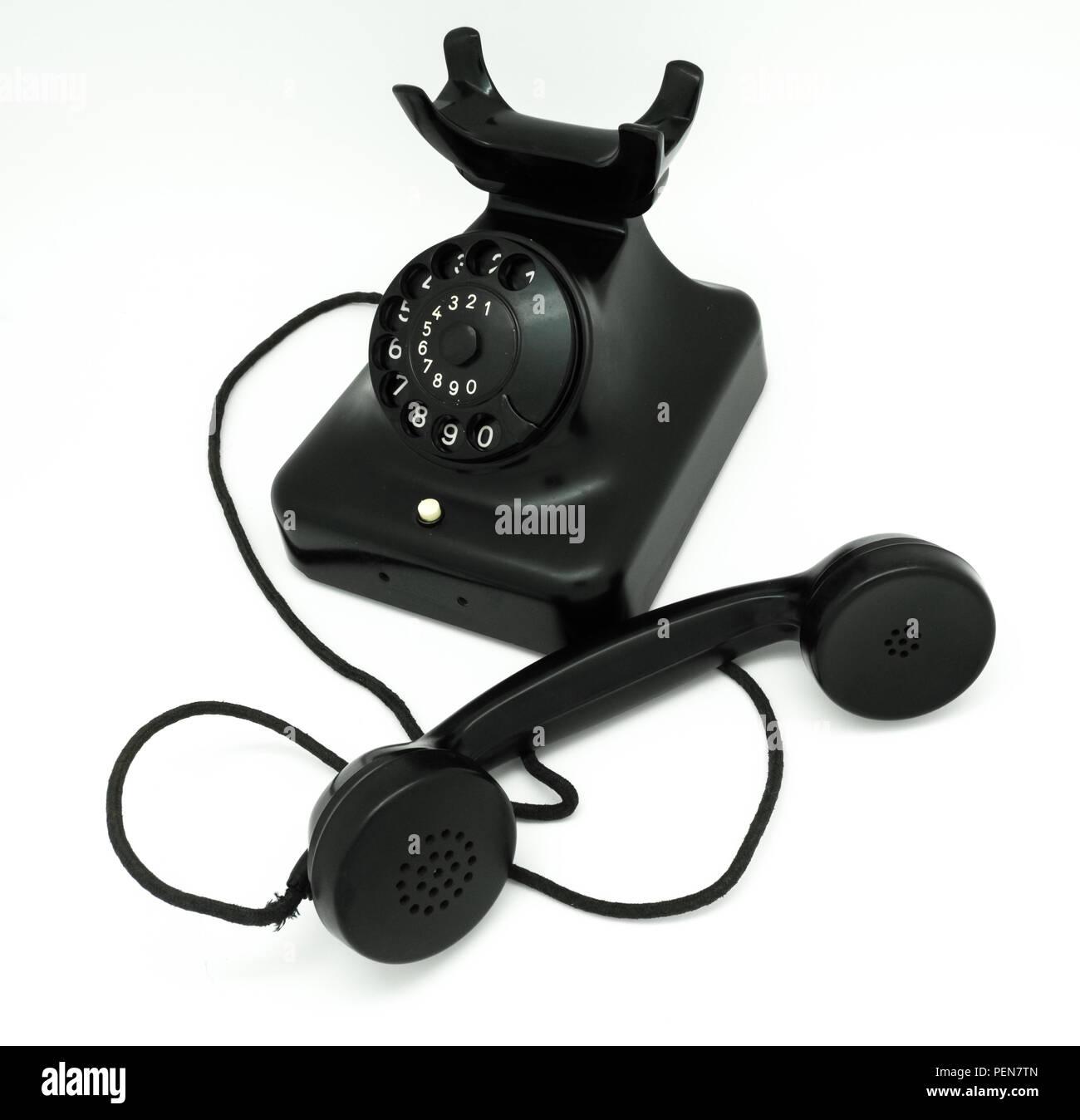 Antikes schwarzes Telefon W48 aus Backelit 50er Jahre - Stock Image