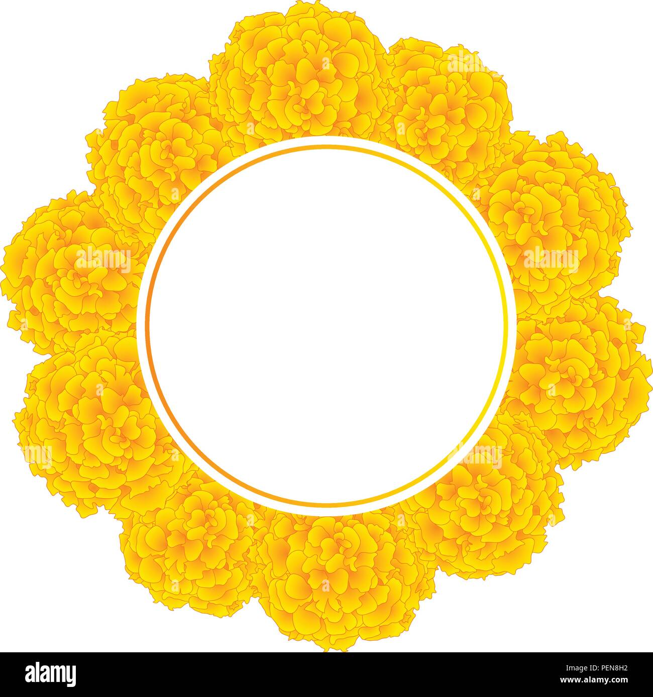 marigold flower ta es banner wreath isolated on white background vector illustration PEN8H2