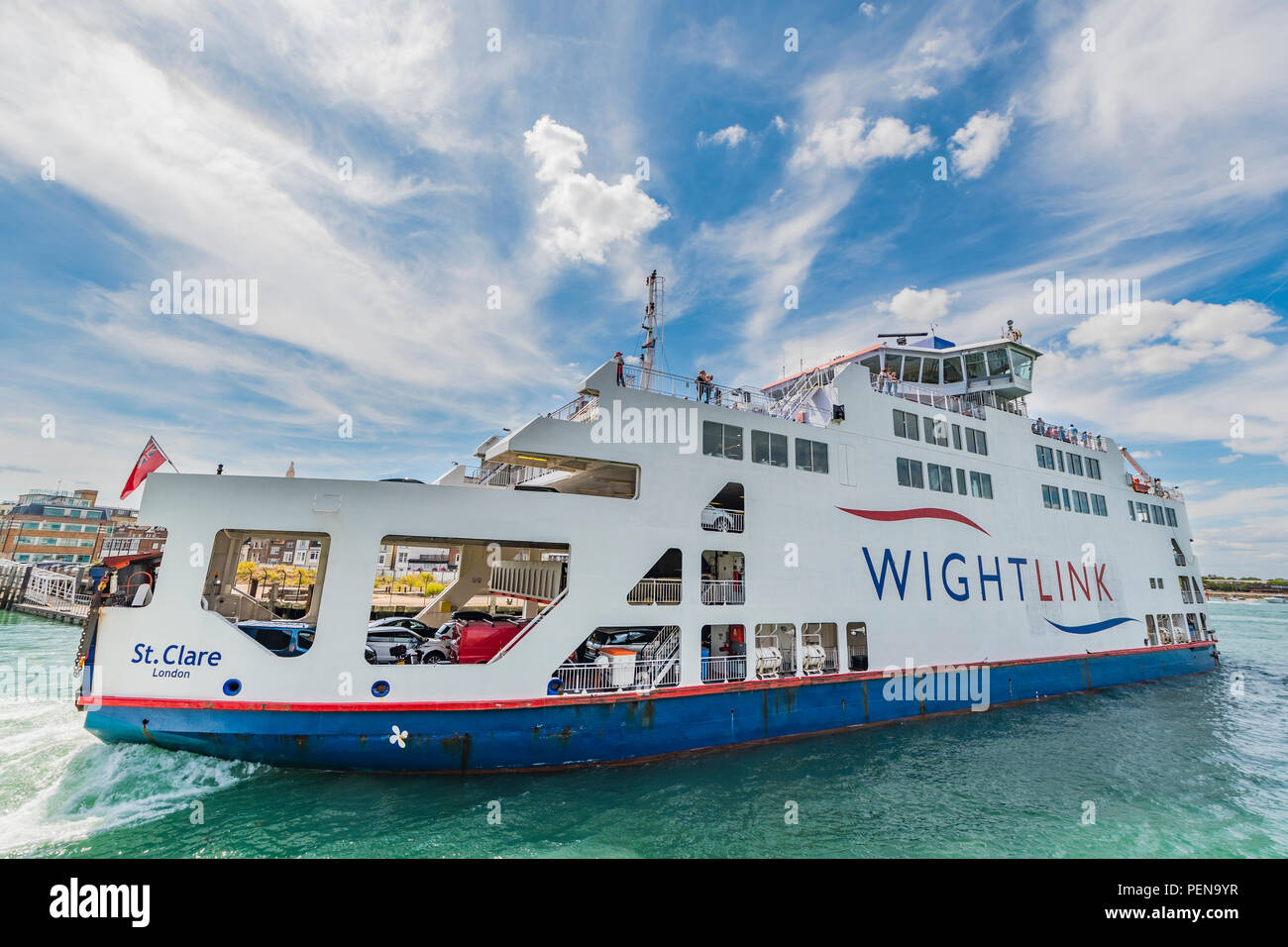 Wightlink car and passenger ferry travelling to and from the Isle of Wight from Portsmouth, Hampshire, England, UK. Vehicle ferry. Vehicle ferries. - Stock Image