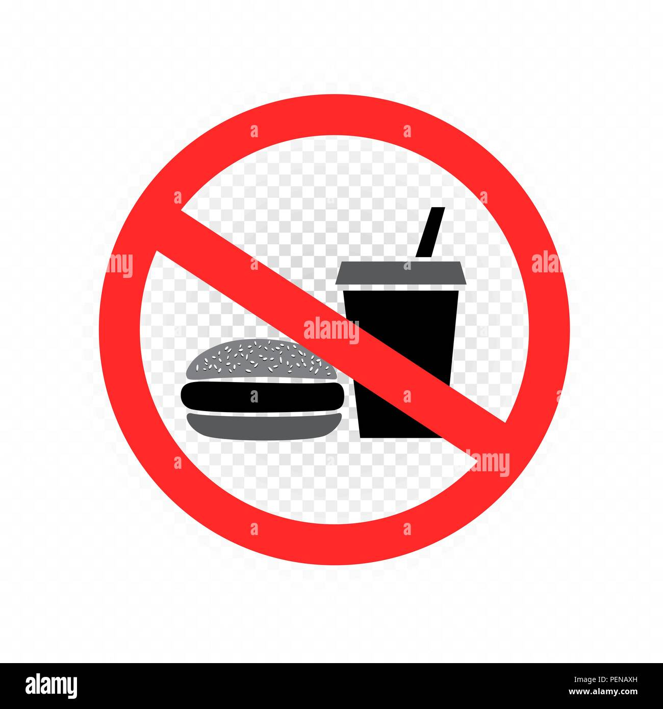 No Fast Food Sign Symbol Icon Transparent Stock Vector Art