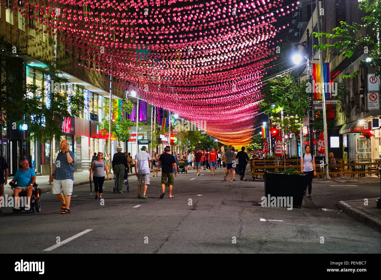 Montreal,Canada,15 August 2018.People walking along  Montreal's gay village.Credit:Mario Beauregard/Alamy Live News - Stock Image