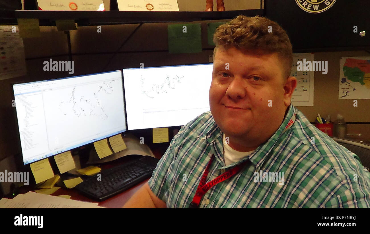 Nathan Cary, a cartographic technician, in the Real Estate Division, is the U.S. Army Corps of Engineers Nashville District's Employee of the Month for November 2015. - Stock Image