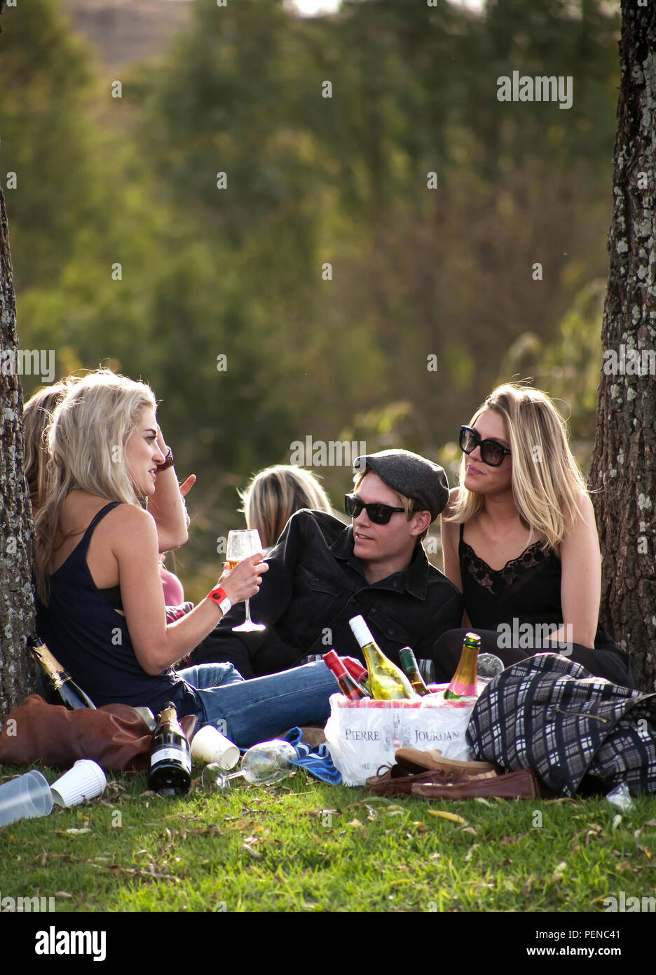 Johannesburg, South Africa - 10 May, 2014: People relaxing and eating in a park. Stock Photo
