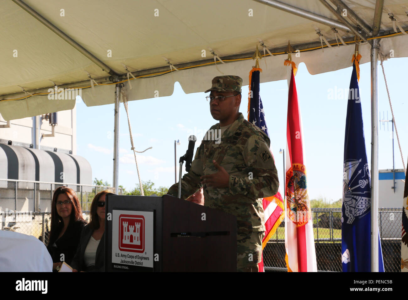 """""""We're working alongside federal, state & local partners to restore this precious ecosystem & protect those who call the Everglades home,"""" said Brig. Gen. C. David Turner, South Atlantic Division commanding general, at the C-111 groundbreaking ceremony on Jan. 7, 2016. Stock Photo"""