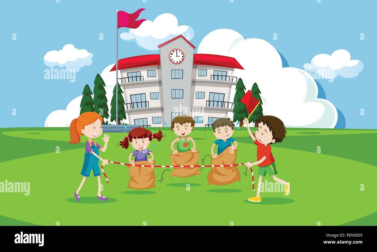Young children having a potato sack race illustration - Stock Vector
