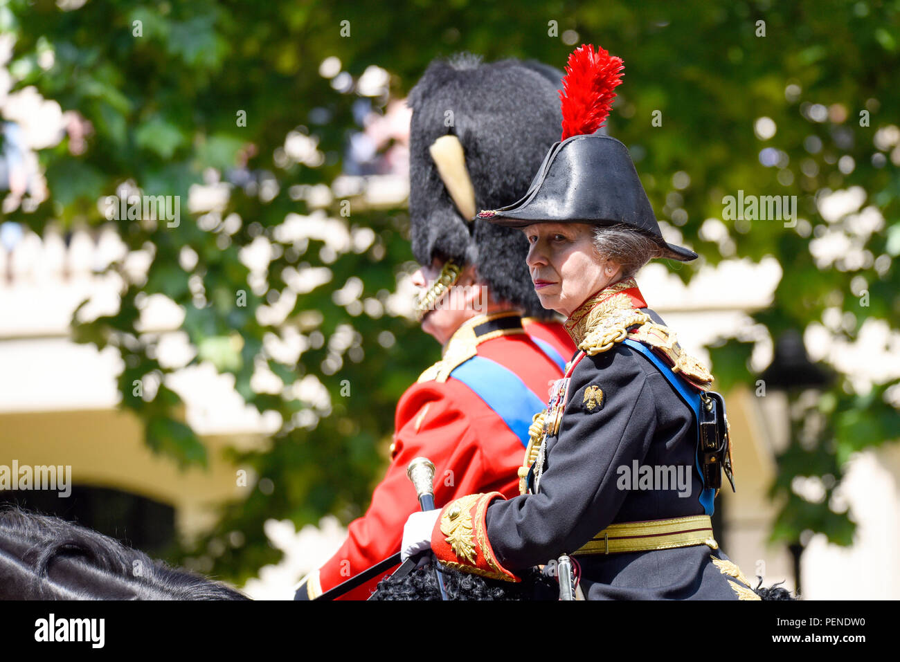 Anne, Princess Royal is looking as protester arrested that threw a china cup which smashed in front of the Queen's carriage. Trooping the Colour 2018 Stock Photo