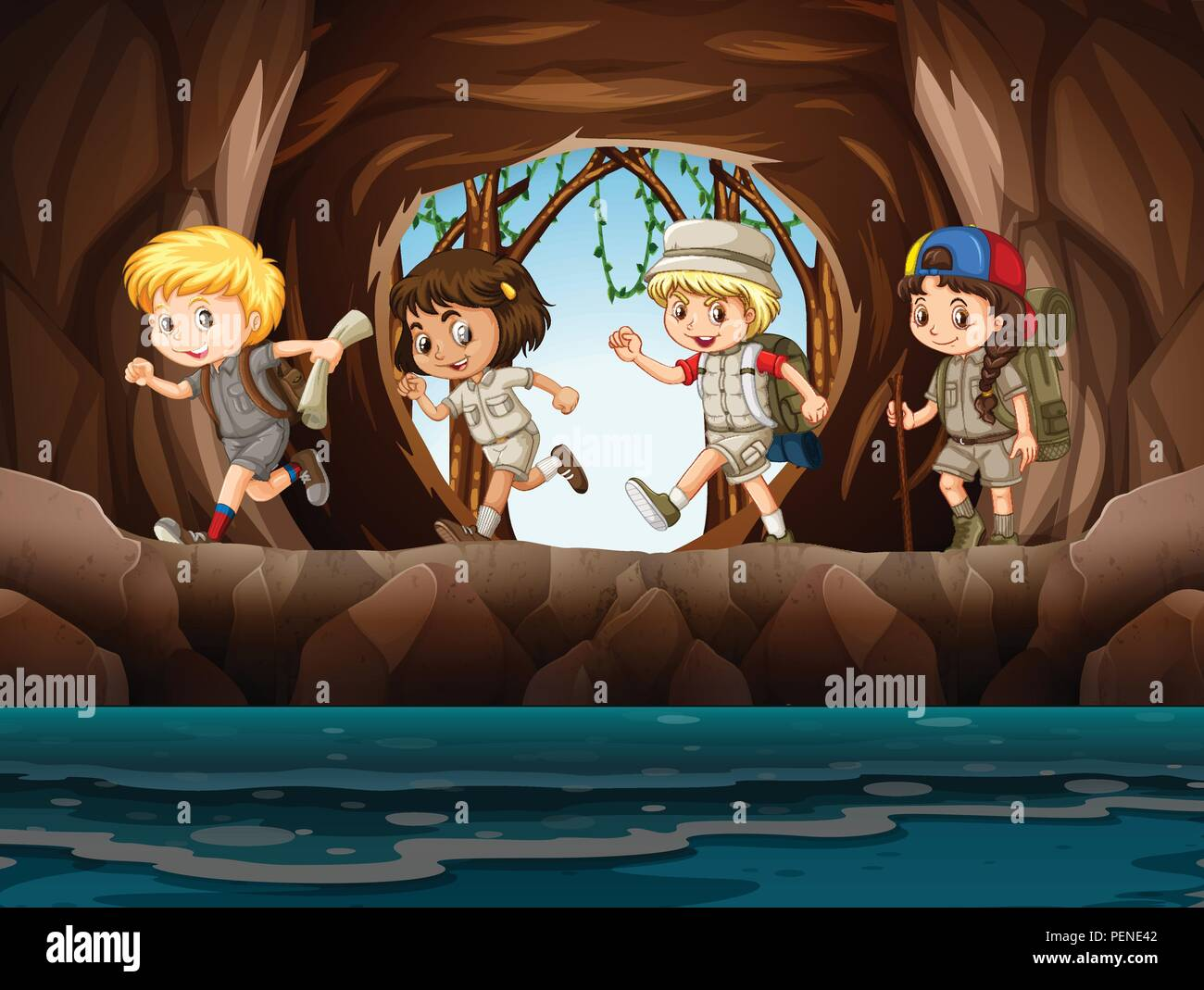 Young child scouts exploring a cave illustration - Stock Vector