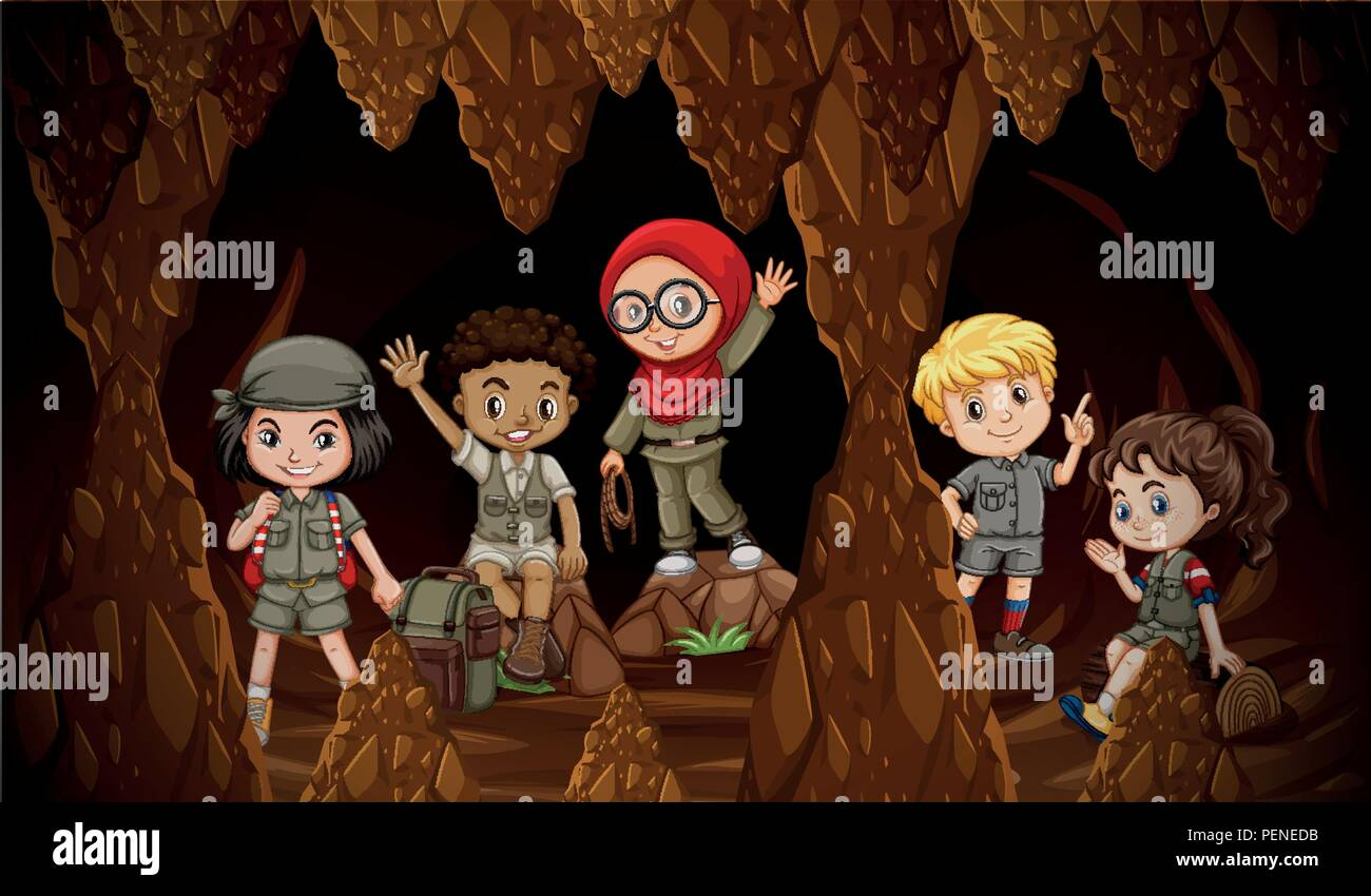 International kids exploring the cave illustration - Stock Vector