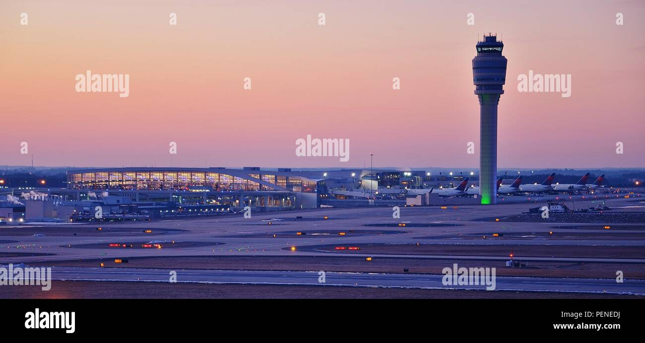 Atlanta Airport, Georgia, USA at sunset - Stock Image
