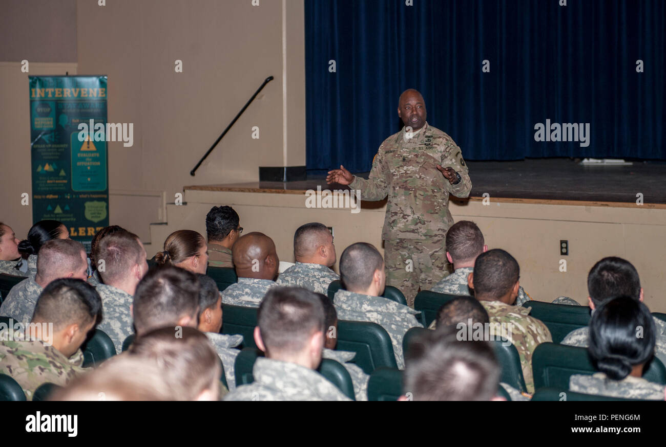 Command Sgt. Maj. Terry Gardner speaks to U.S. Army Alaska noncommissioned officers during the SHARP NCO Summit Jan. 11, 2016, at the Frontier Theater on Joint Base Elmendorf-Richardson, Alaska. The summit was the first of its kind held here for USARAK NCOs. (U.S. Army Photo/Sachel Harris) Stock Photo