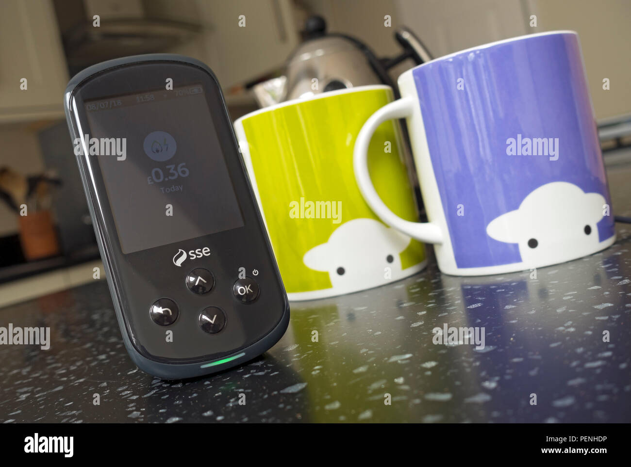 SSE smart meter on kitchen worktop England UK United Kingdom GB Great Britain - Stock Image