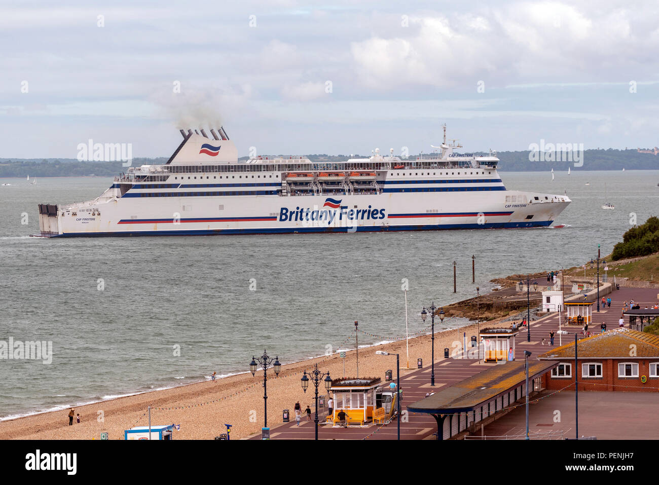 Portsmouth, England, UK 2018. The Cap Finistere a roro ferry passing Southsea Castle and into Portsmouth Harbour. - Stock Image