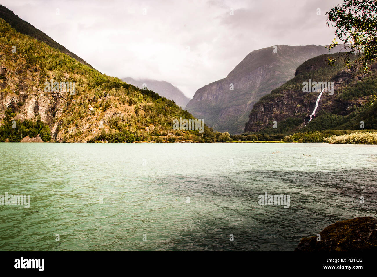 Reconstruction of Ludwig Wittgensteins wooden chalet on its own foundation high on the slope of the Lustrafjord near the town of Skjolden. - Stock Image