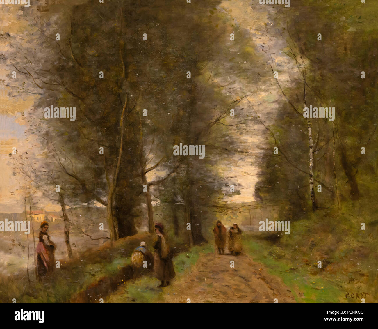 Ville d'Avray, Woodland Path Bordering the Pond, Jean-Baptistse-Camille Corot, 1872, Indianapolis Museum of Art, Indianapolis, Indiana, USA, North Ame - Stock Image