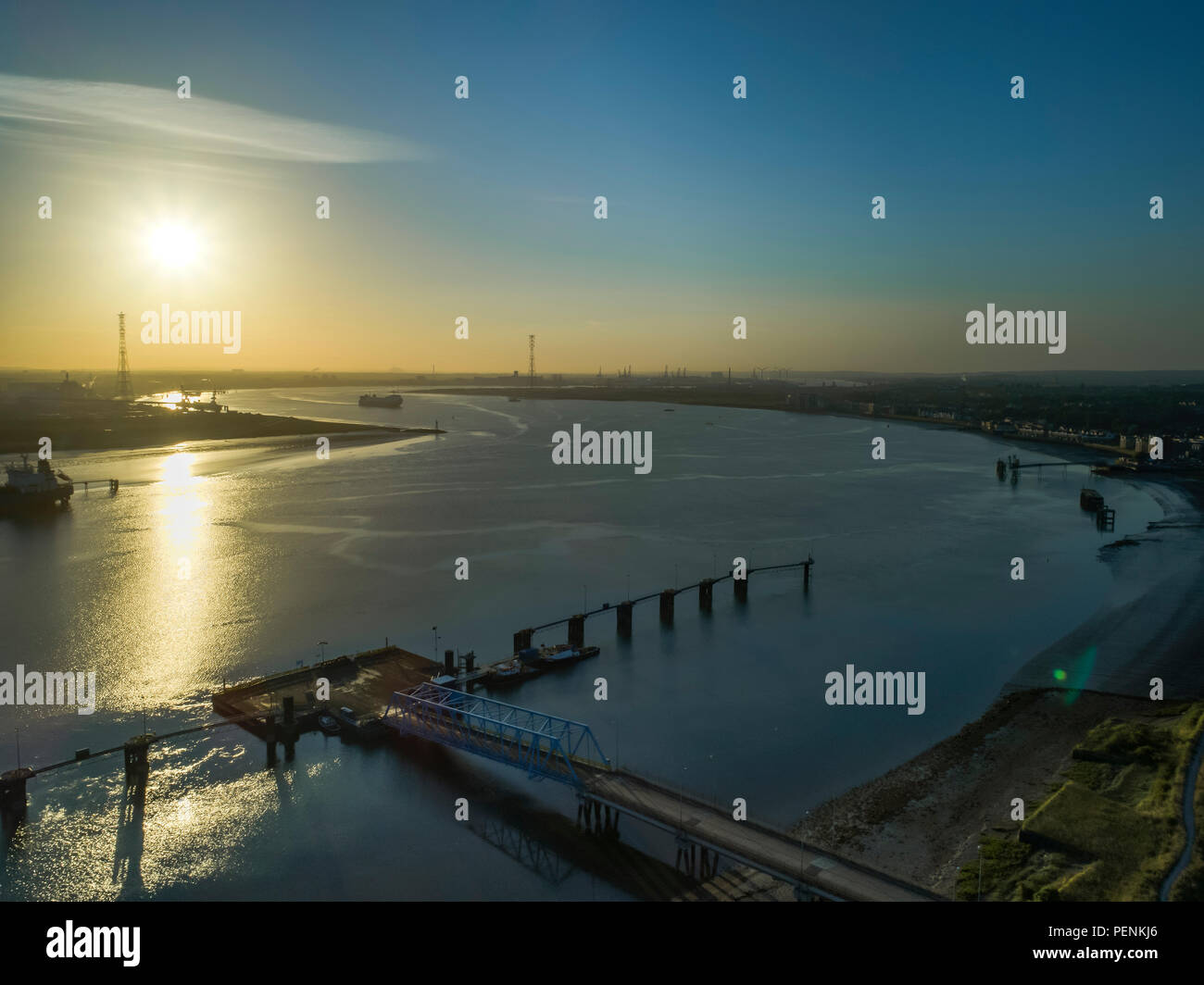 Aerial of River Thames looking east from Thurrock on a spring dawn in 2018 Stock Photo