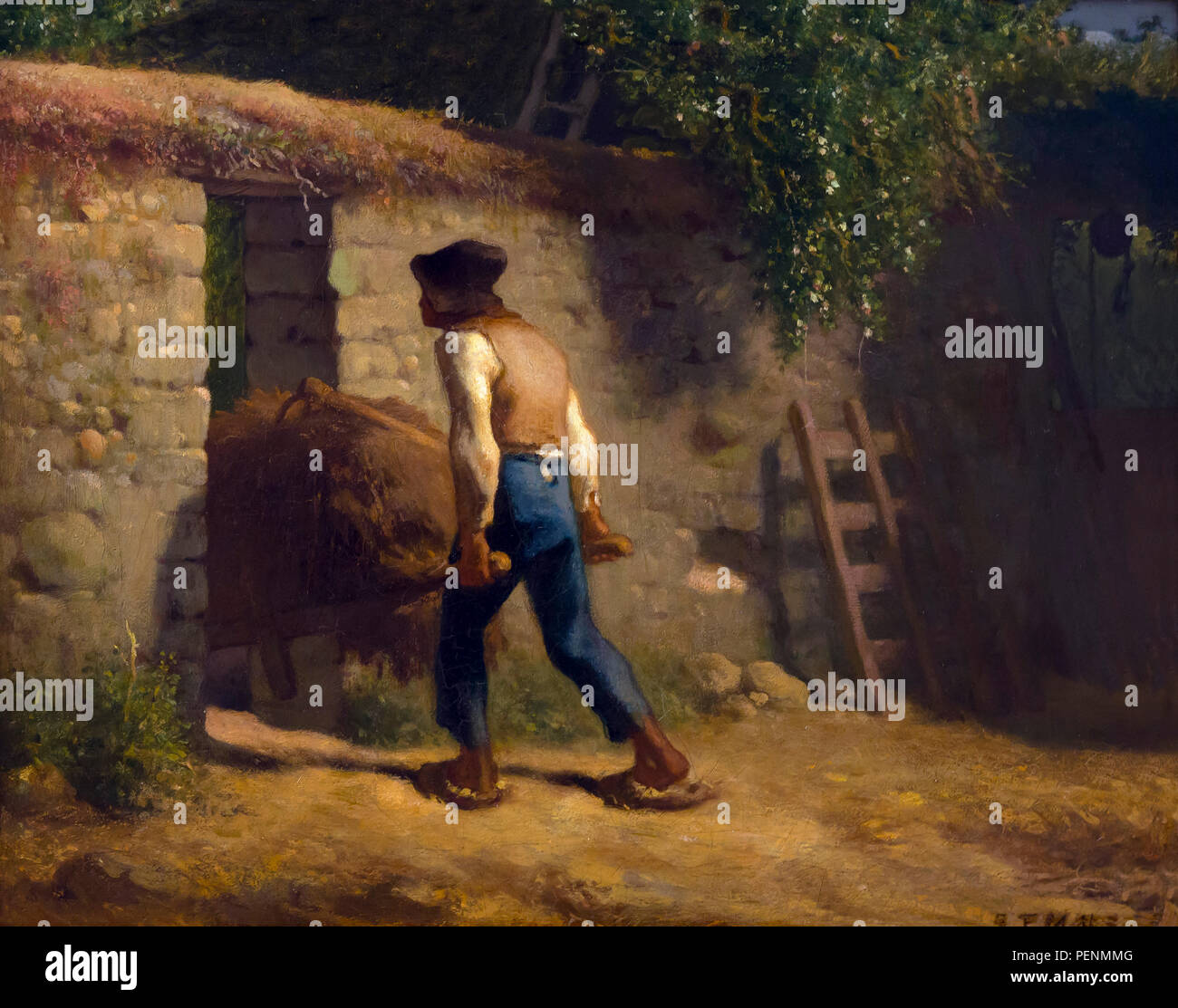Peasant with a Wheelbarrow, Jean-Francois Millet, 1848-1852, Indianapolis Museum of Art, Indianapolis, Indiana, USA, North America - Stock Image