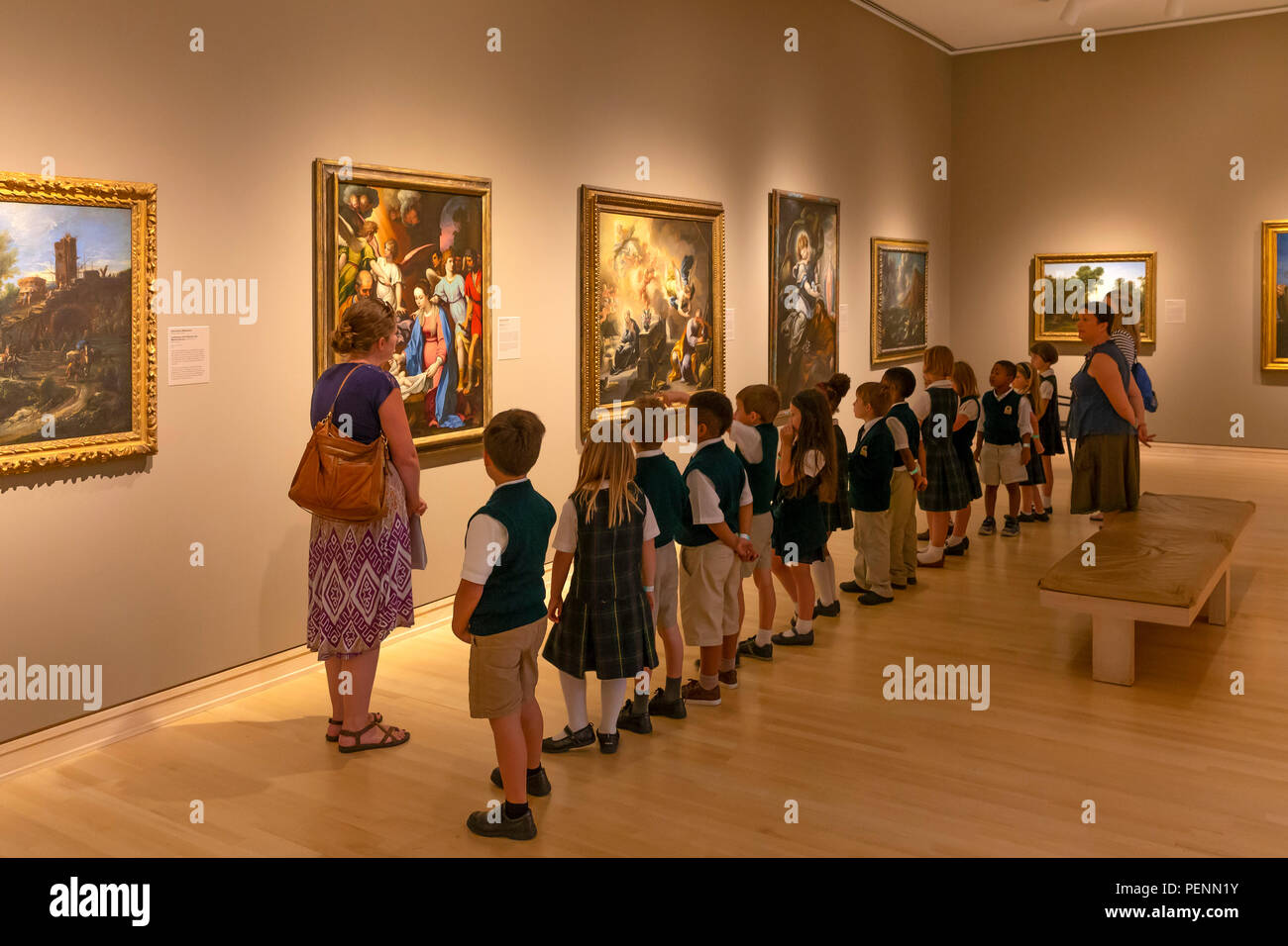 School children learning about fine art, Indianapolis Museum of Art, Indianapolis, Indiana, USA, North America - Stock Image