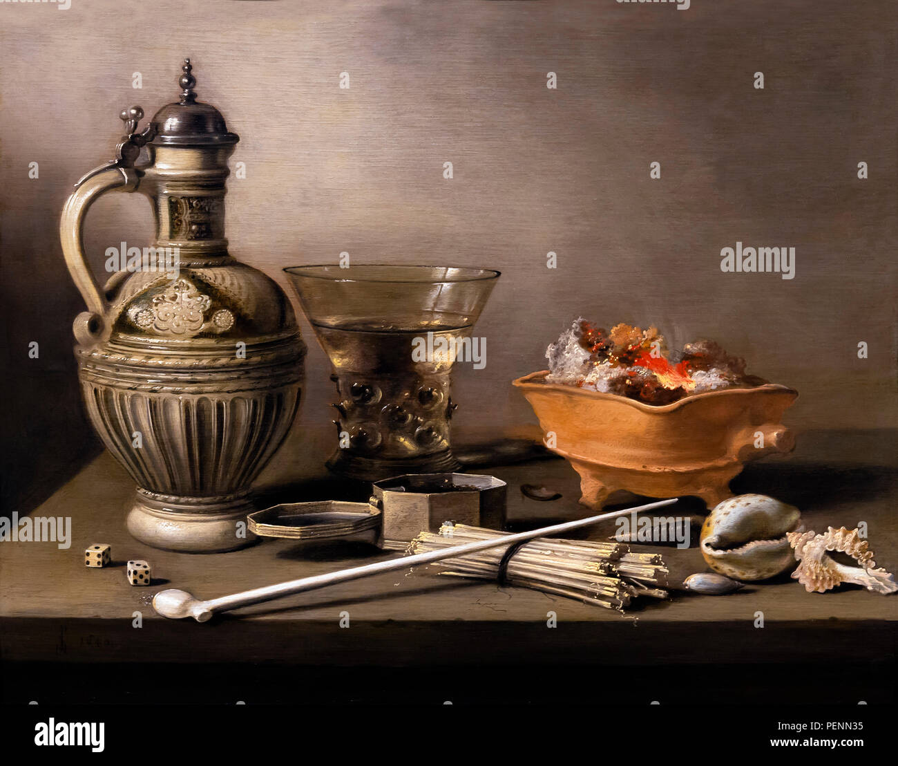 Still Life with a Stoneware Jug, Berkemeyer and Smoking Utensils, Pieter Claesz., 1640, Indianapolis Museum of Art, Indianapolis, Indiana, USA, North  - Stock Image