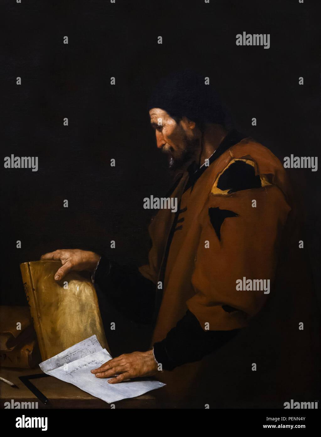 Aristotle, Jusepe de Ribera, 1637, Indianapolis Museum of Art, Indianapolis, Indiana, USA, North America - Stock Image