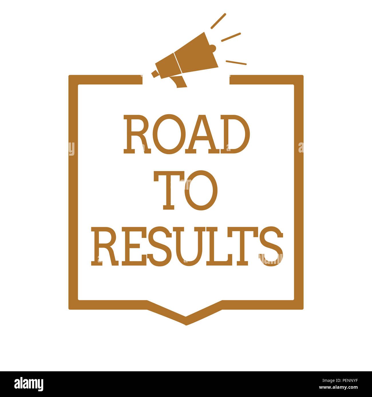Text sign showing Road To Results. Conceptual photo Business direction Path Result Achievements Goals Progress Megaphone loudspeaker brown frame commu - Stock Image
