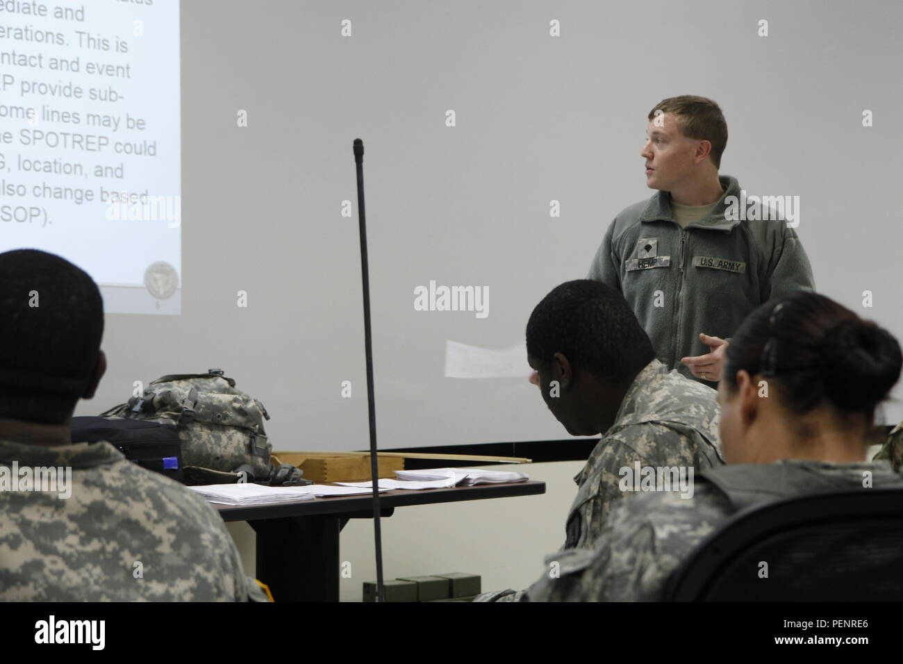 US Army Spc Nickolas Hemp Of The 91st Training Division Instructs Soldiers On How To