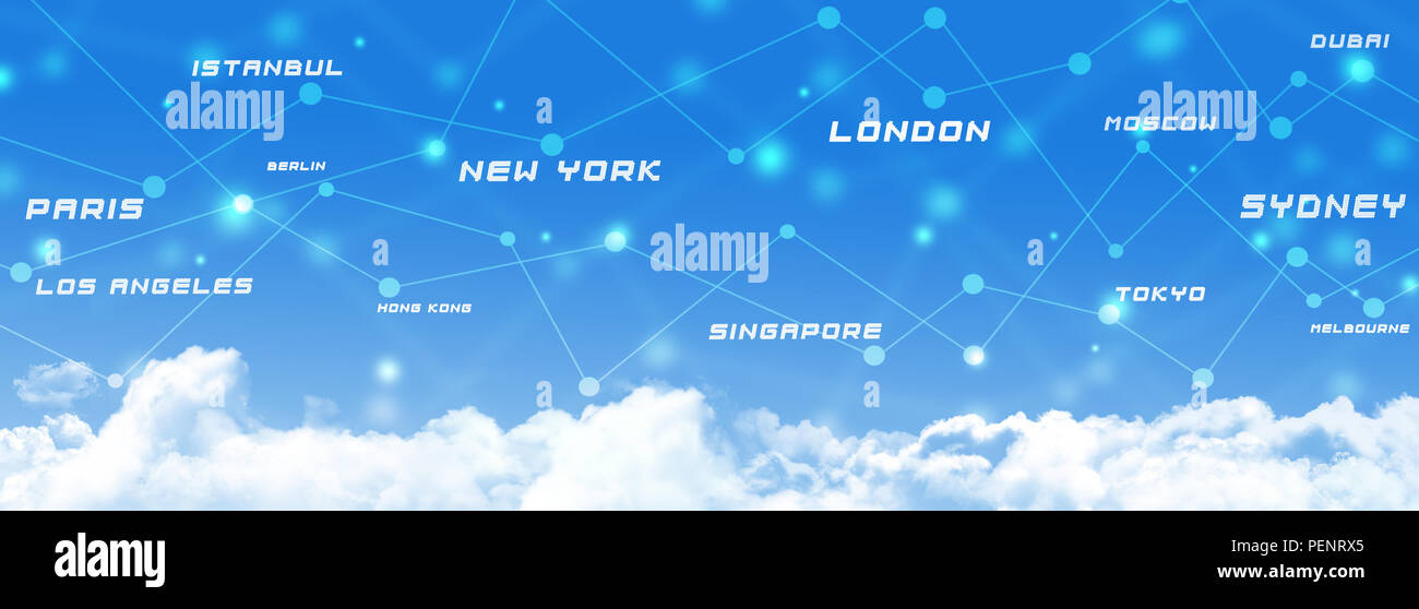 global aviation transport connections business sky banner - Stock Image