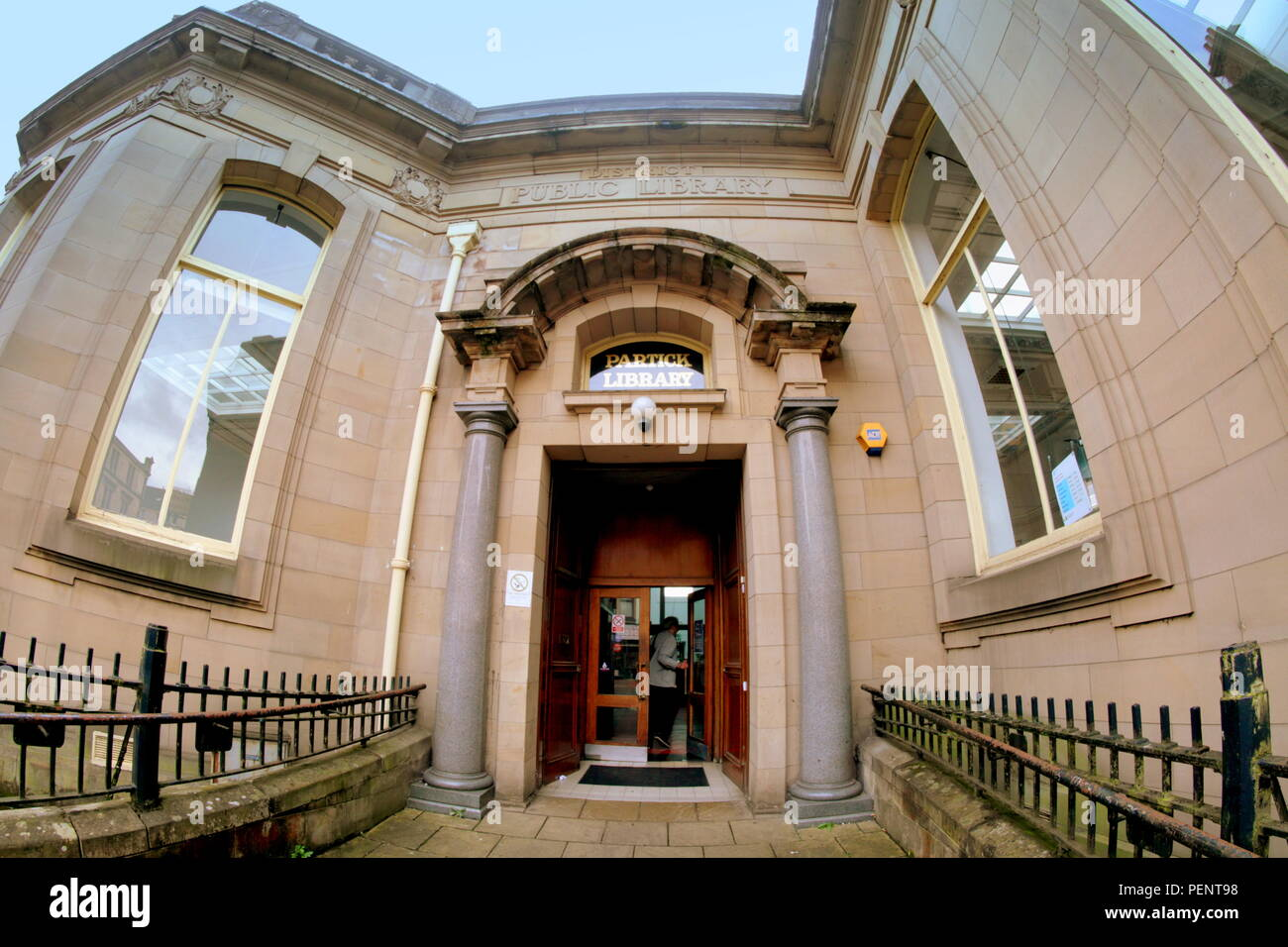entrance to Partick Library,exterior  Dumbarton Road, Glasgow, UK - Stock Image