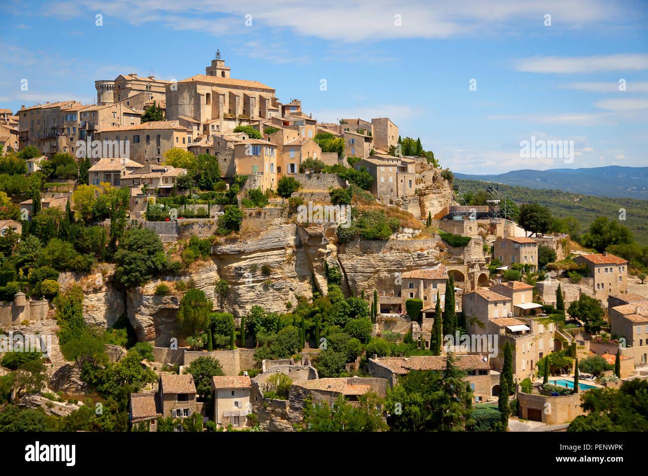 A view of Gordes village, Provence-Alpes-cote d'Azur, France. Stock Photo