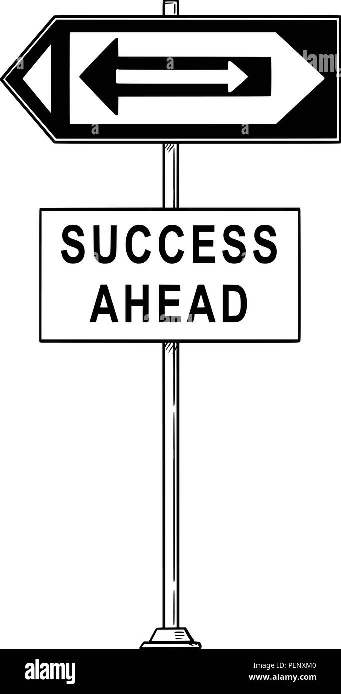 vector cartoon drawing of confusing traffic sign with arrows pointing both left and right and success ahead text stock vector image art alamy https www alamy com vector cartoon drawing of confusing traffic sign with arrows pointing both left and right and success ahead text image215611536 html