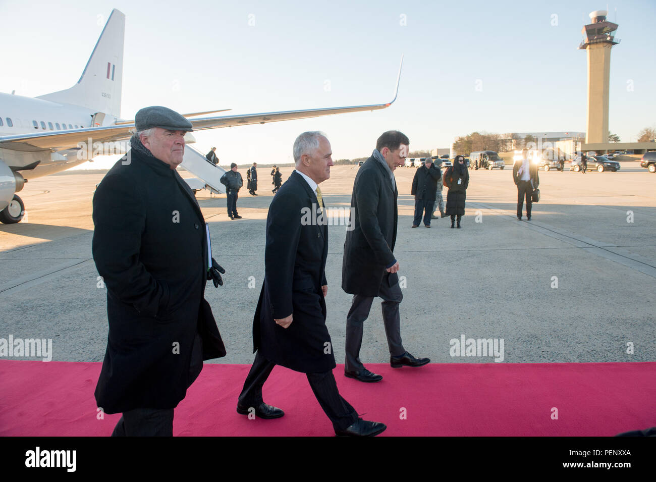 The Chief of Protocol of the United States, Ambassador Peter A. Selfridge  escorts the Prime Minister of Australia Malcolm Bligh Turnbull during an  Armed ...