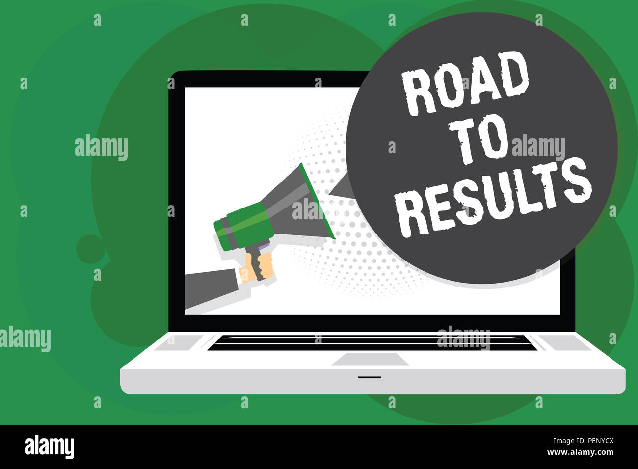 Handwriting text Road To Results. Concept meaning Business direction Path Result Achievements Goals Progress Man holding Megaphone loudspeaker compute Stock Photo