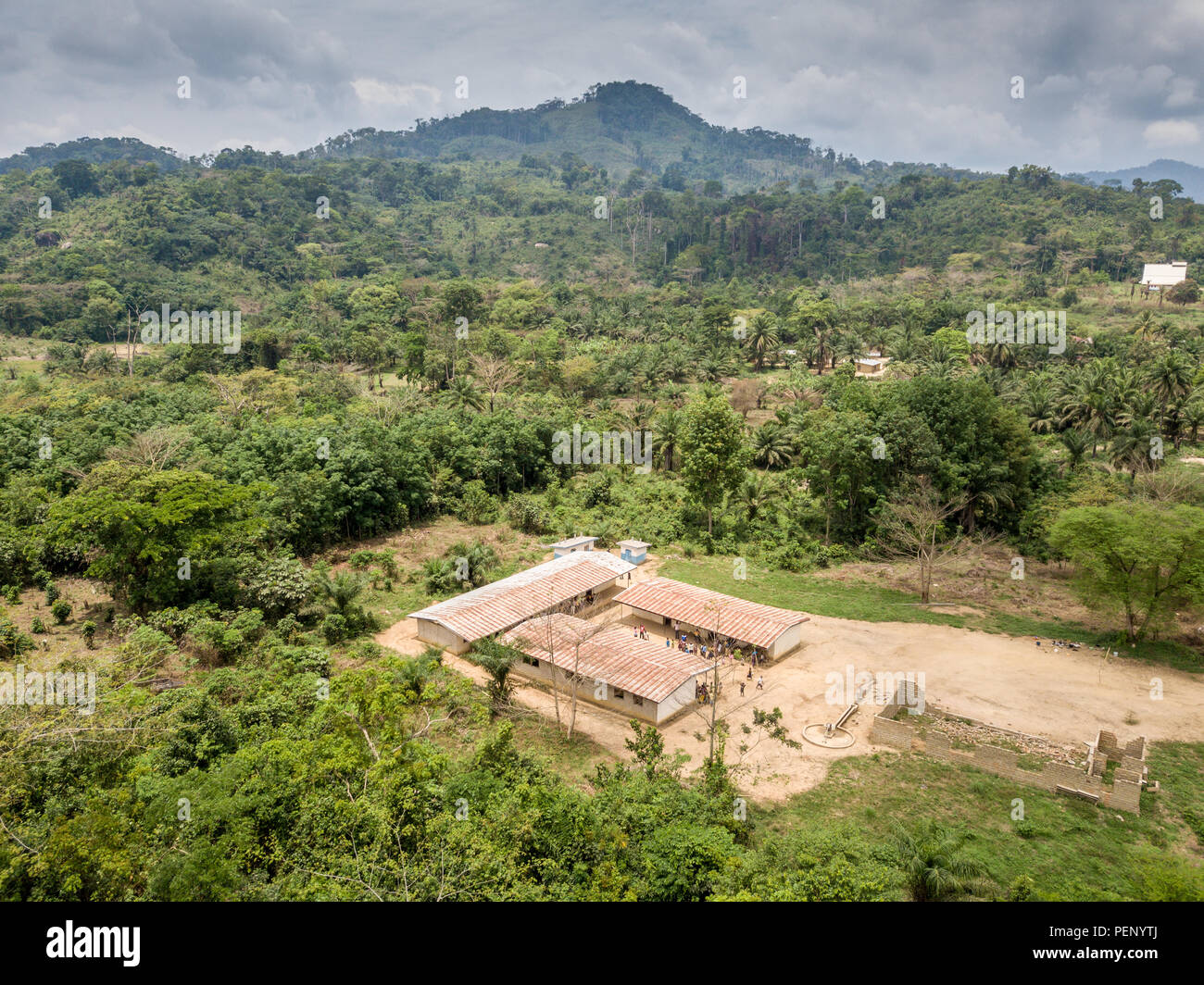 Aerial shot of a school in Ganta, Liberia - Stock Image