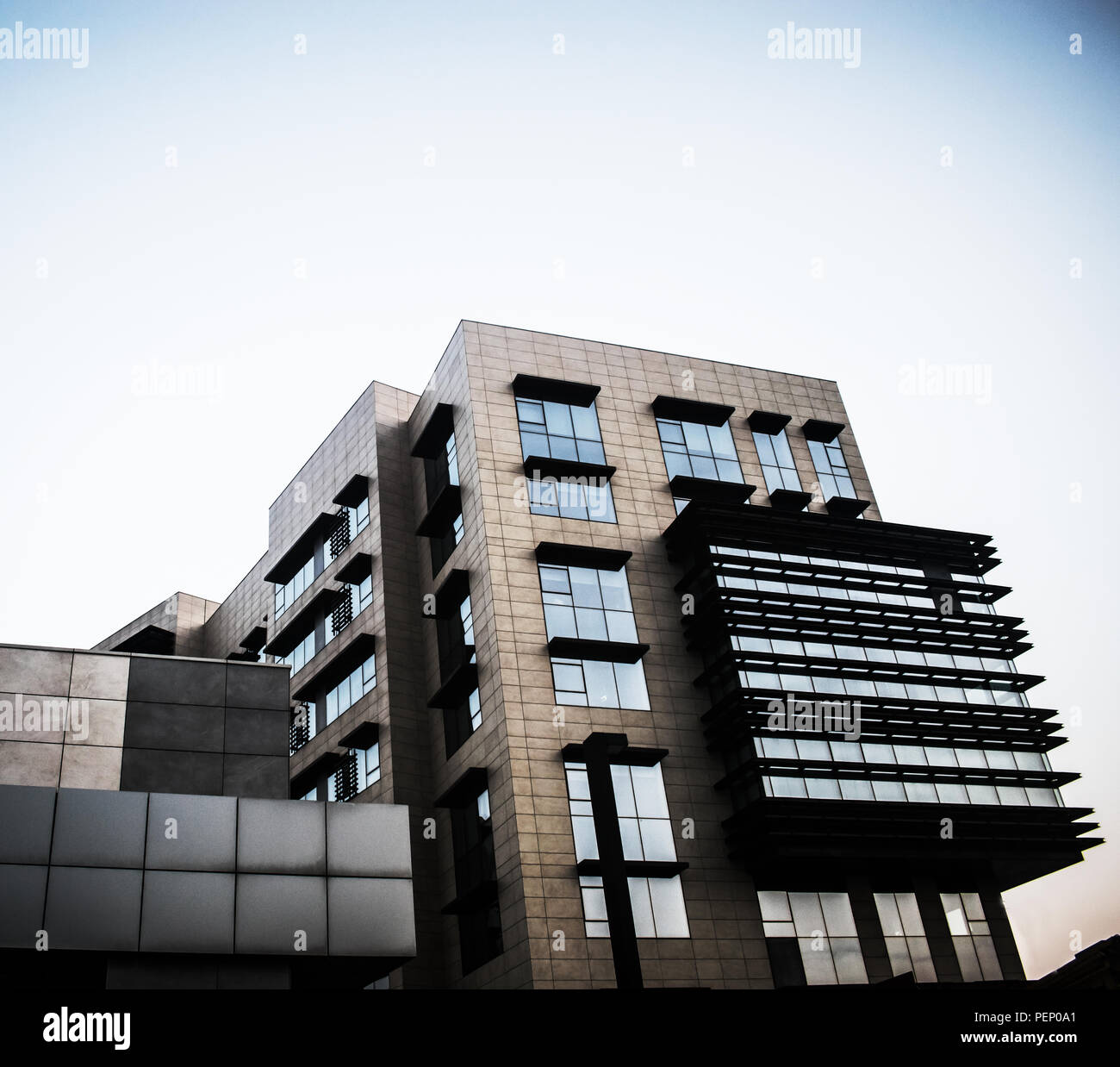 Modern Architecture making part of Smart City in Malta which is used for office and residential purposes. Stock Photo