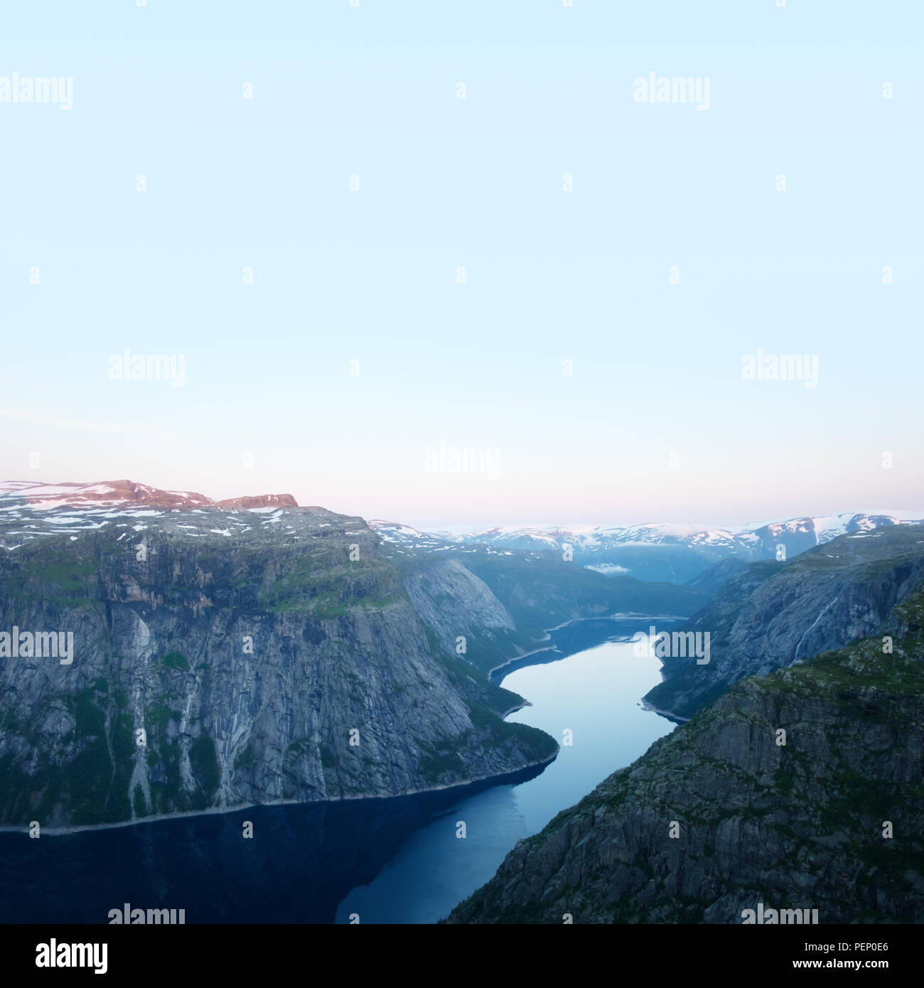 Breathtaking view on Ringedalsvatnet from Trolltunga rock Stock Photo