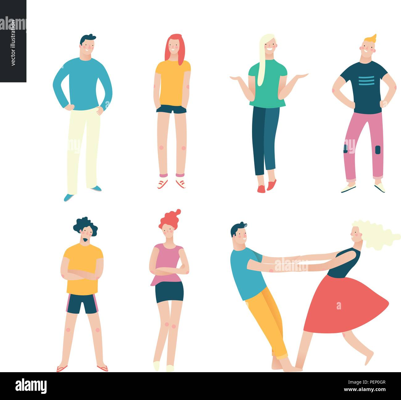 Bright people portraits set - young men and women - set of various posing people in fashion colors - standing with arms akimbo, crossed arms, whirling - Stock Vector