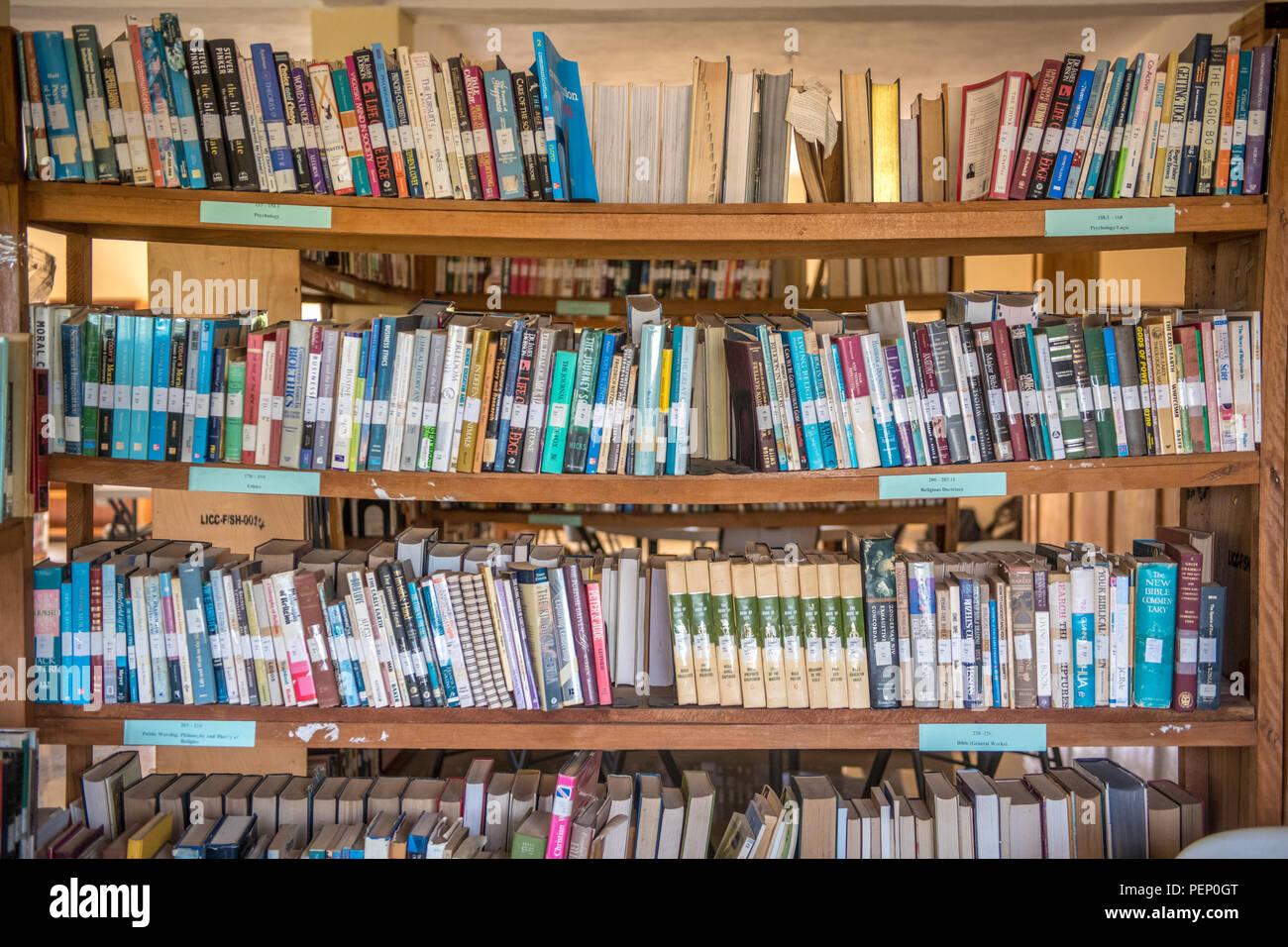 A Full Frame Of Bookshelves Full Of Books In Ganta Liberia Stock