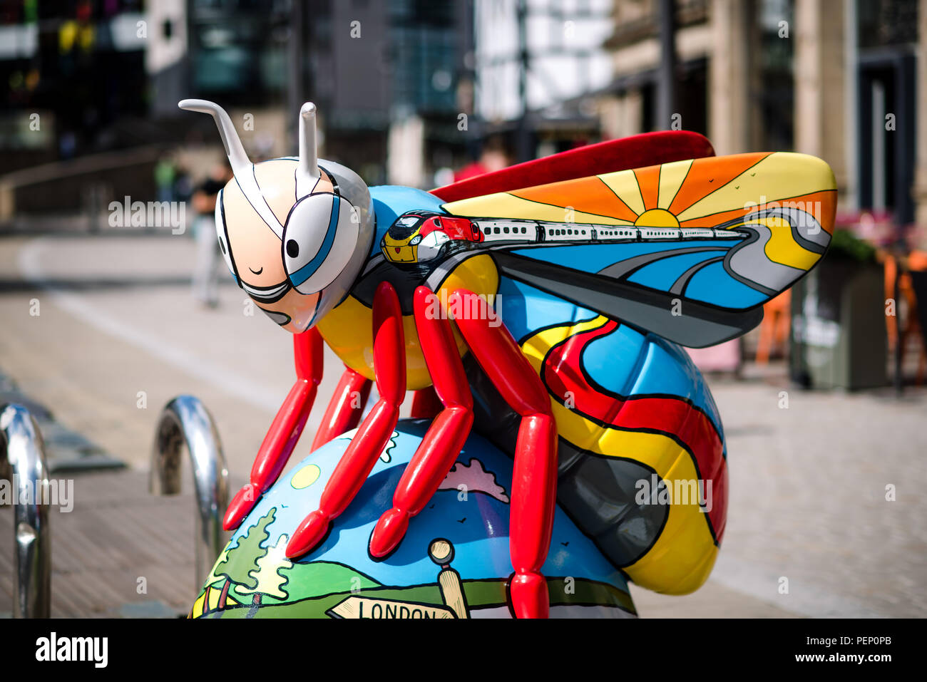 Bee in the City. Manchester. United Kingdom. - Stock Image