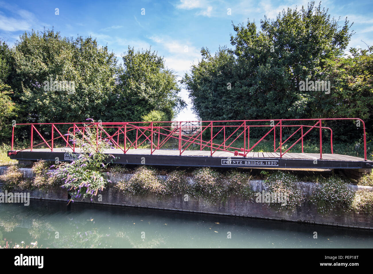 The Poyntz Bridge (1820), a historic swingbridge at Chichester Canal, Chichester, West Sussex, UK Stock Photo