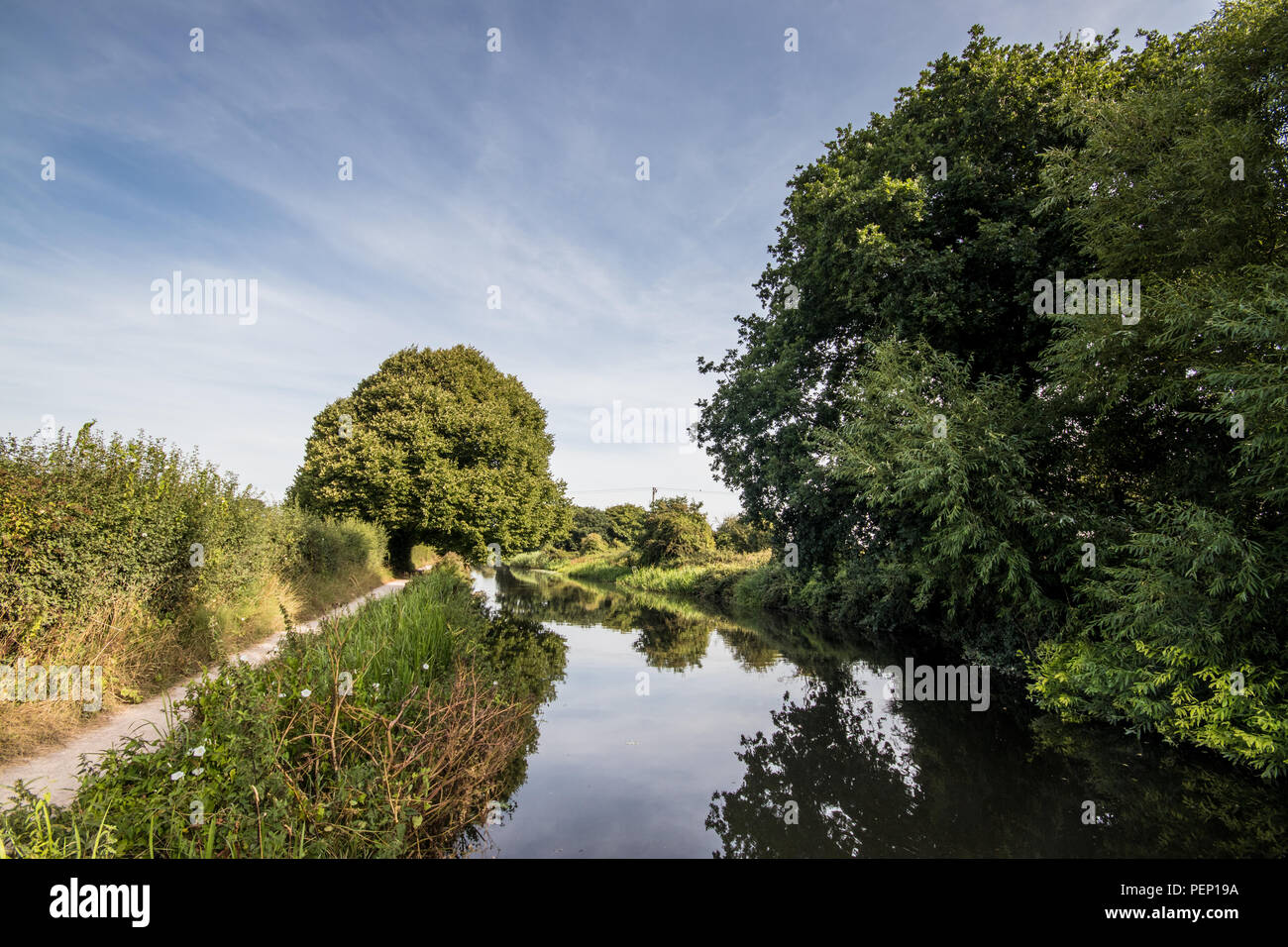 Towpath at Chichester Canal, Chichester, West Sussex, UK - Stock Image