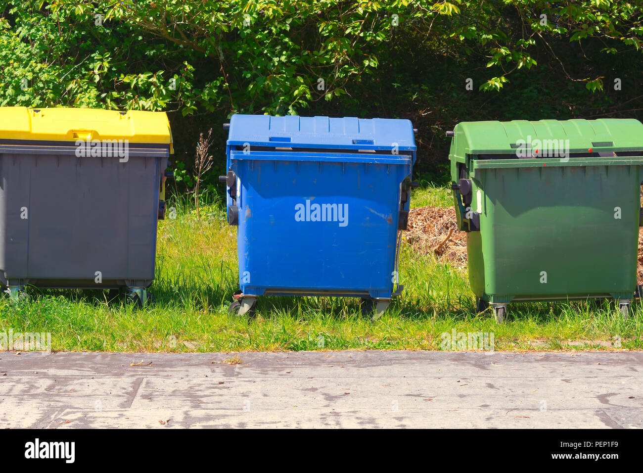 Industrial Waste Containers Dumpster for municipal and private waste Stock Photo