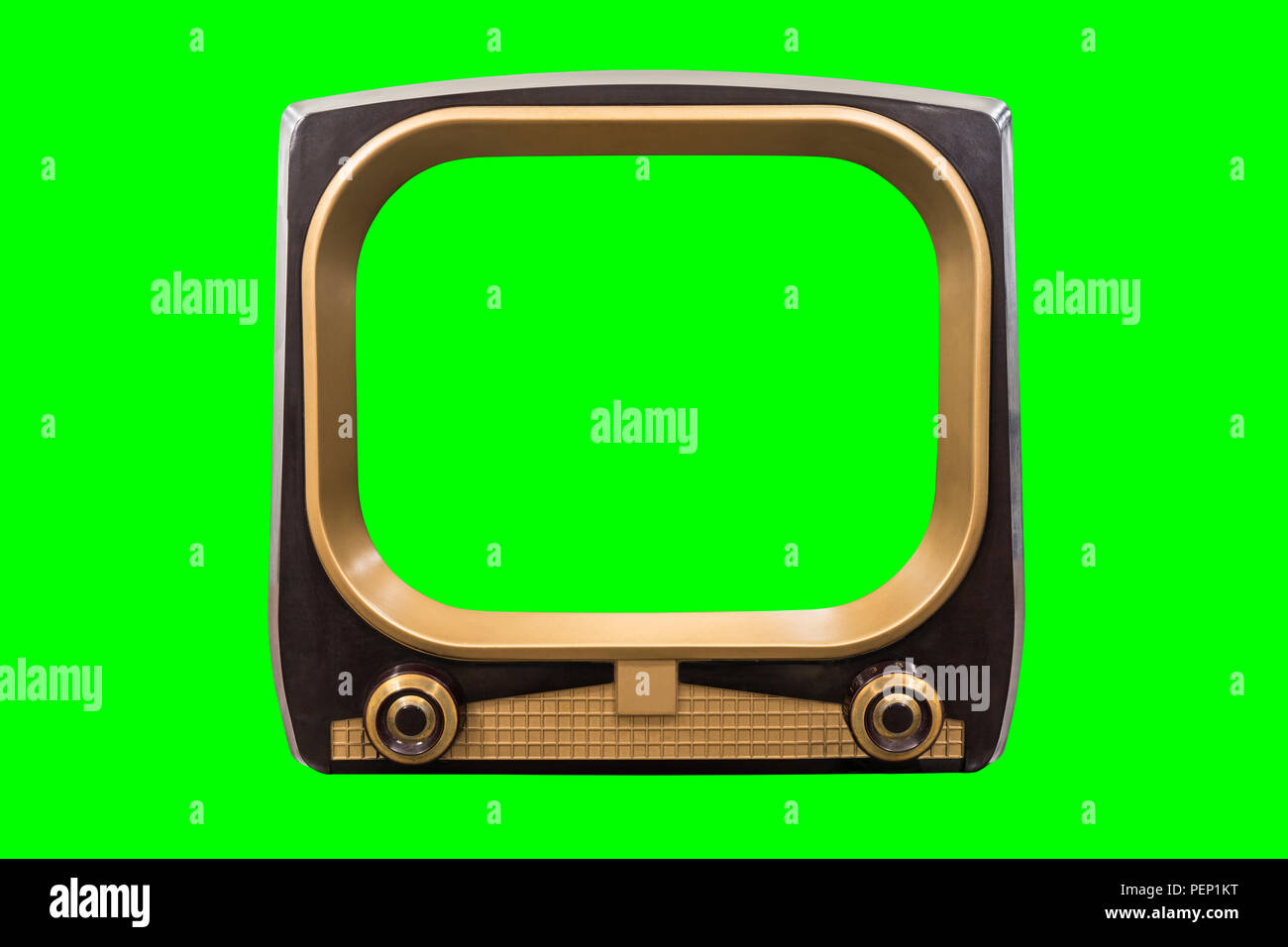 Retro 1950s television with chroma green background and screen. - Stock Image