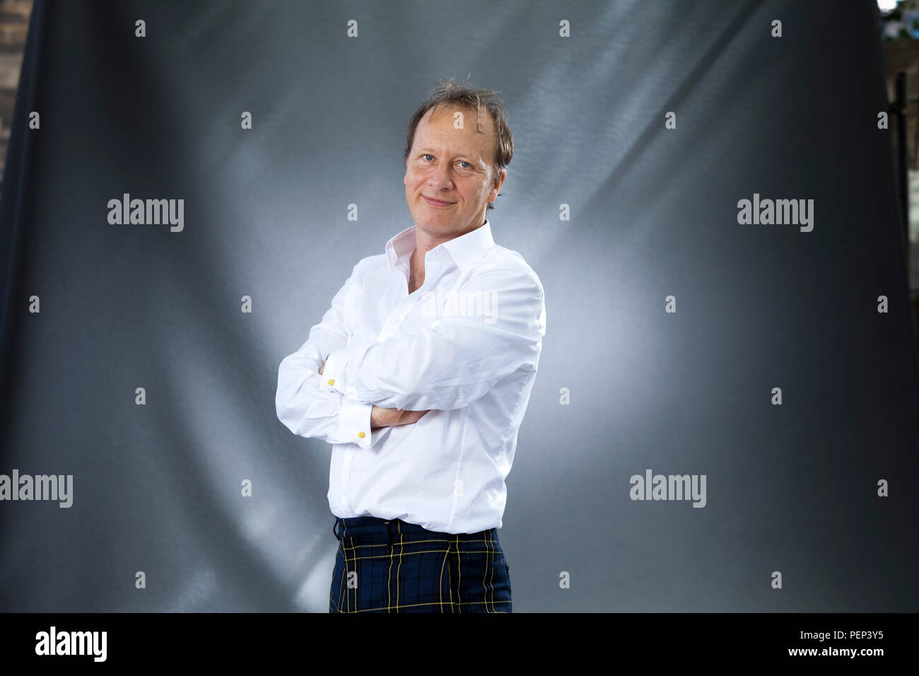 Edinburgh, UK. 16th August, 2018. Paul Kenyon, BAFTA-winning journalist and author who made his name confronting criminals in his own prime time TV show on BBC1. Pictured at the Edinburgh International Book Festival. Edinburgh, Scotland.  Picture by Gary Doak / Alamy Live News - Stock Image