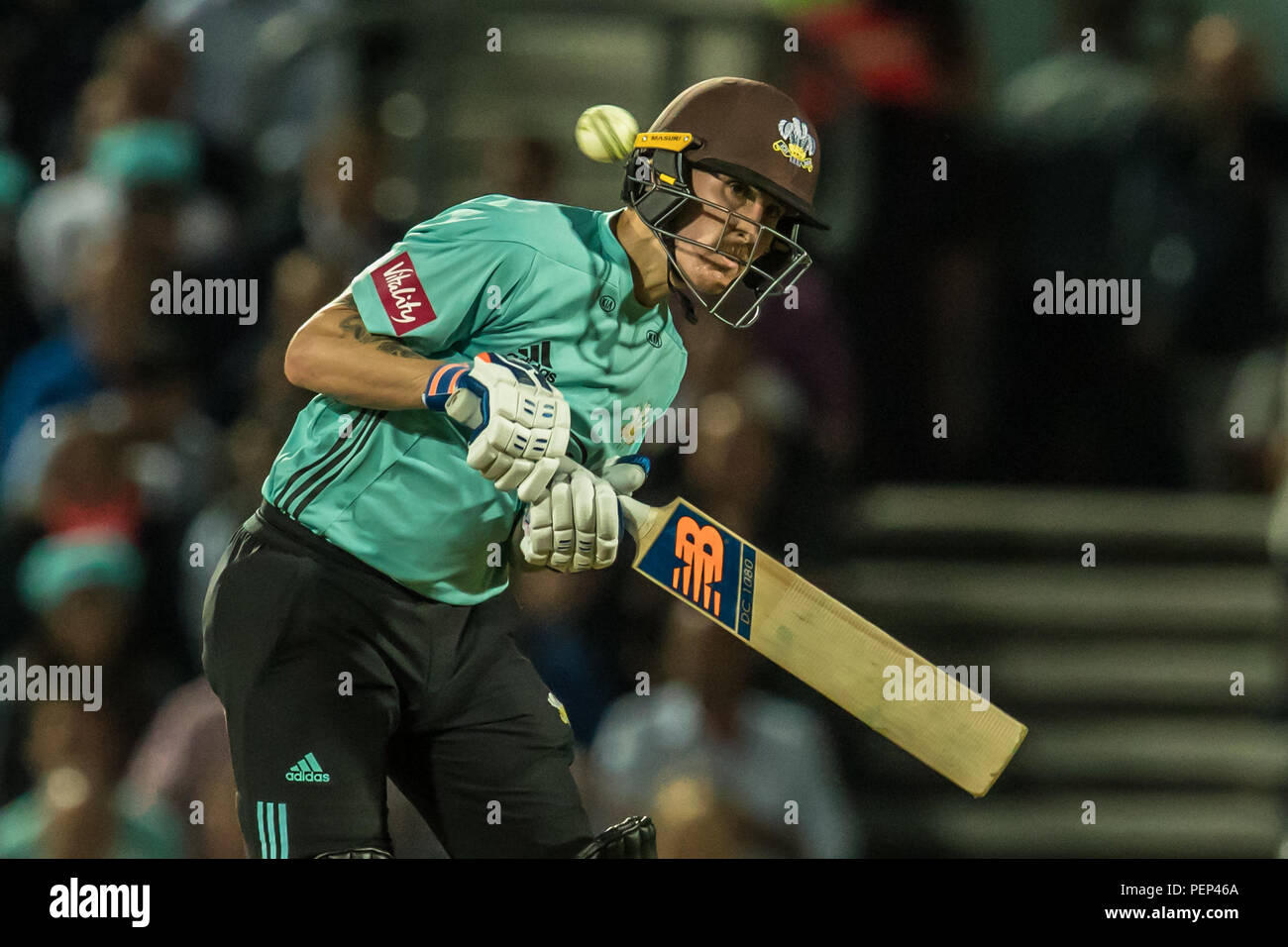 London, UK. 15 August, 2018. Nic Maddinson watches one go past his ear batting for Surrey against Hampshire in the Vitality T20 Blast match at the Kia Oval. David Rowe/Alamy Live News - Stock Image