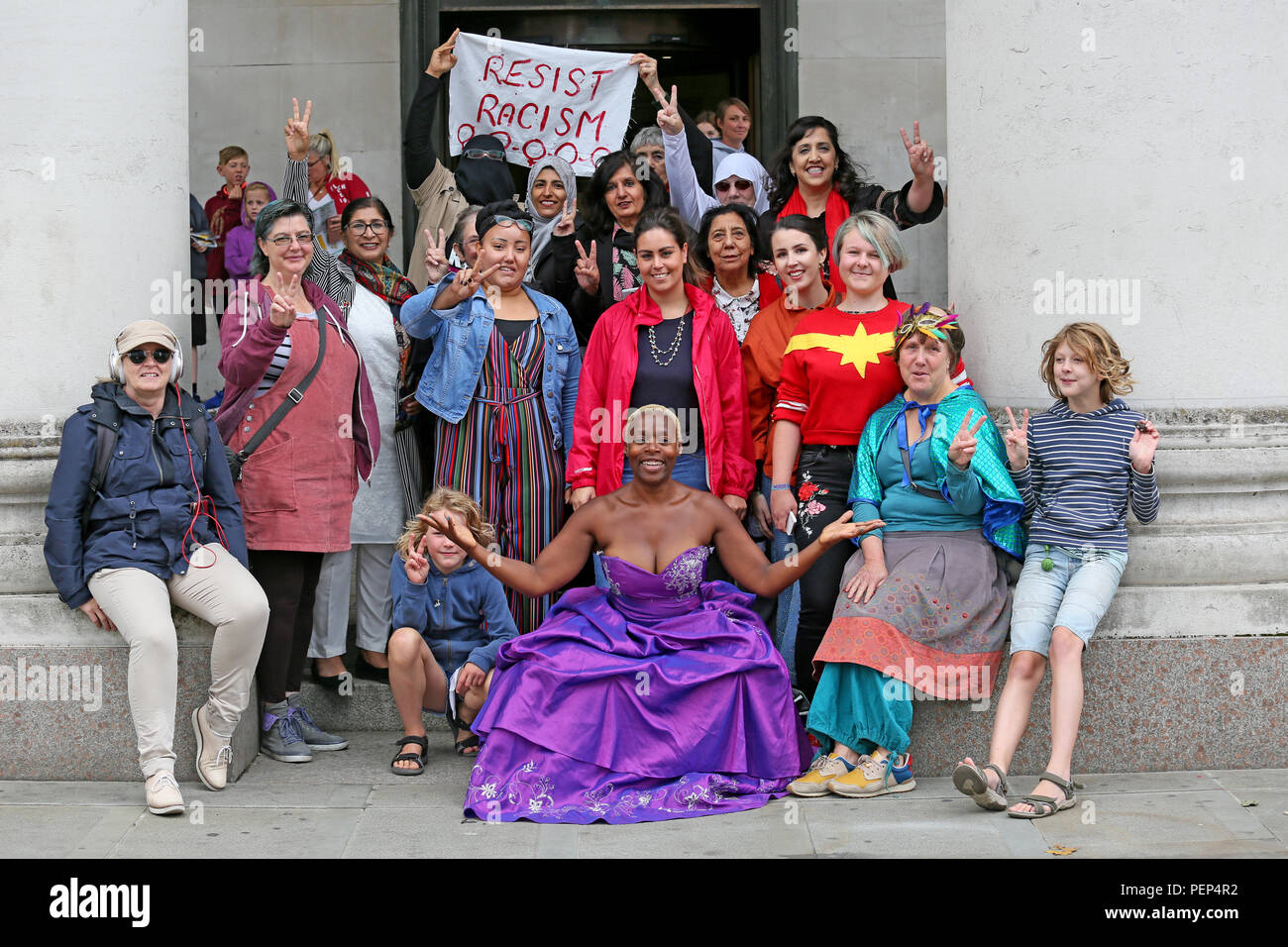 Manchester, UK. 16th August 2018. A group of women gather in a show of solidarity and to send out a message of  'Enough is Enough' chanting 'Our clothes our choice'  in response to Boris Johnson and his comments on women wearing the Burqa. St Peters Square, Manchester  16th August, 2018 (C)Barbara Cook/Alamy Live News - Stock Image