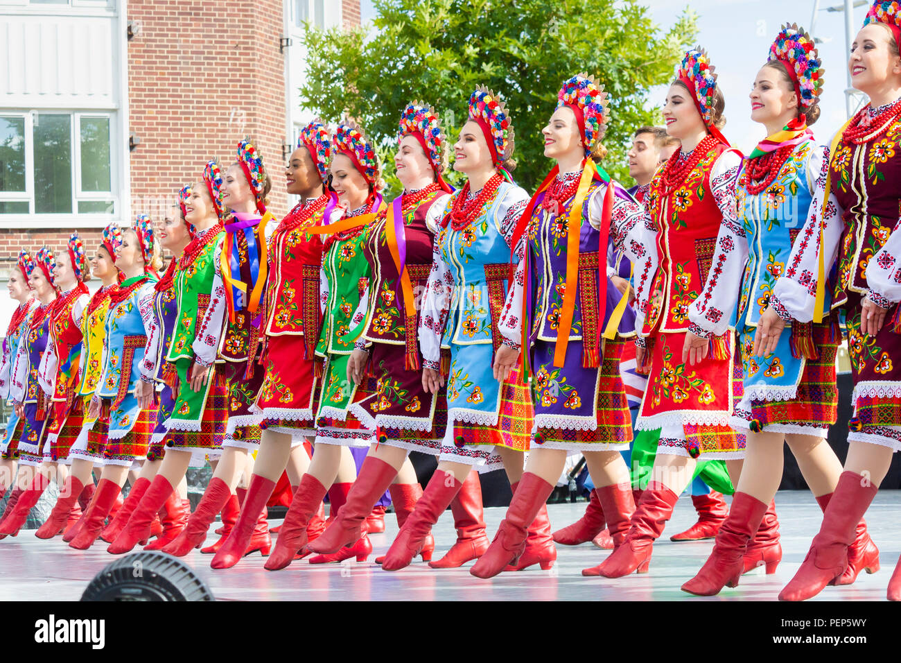 Vohon Ukranian dance ensamble at the Billingham International Folklore Festival of World Dance 2018. England. UK - Stock Image