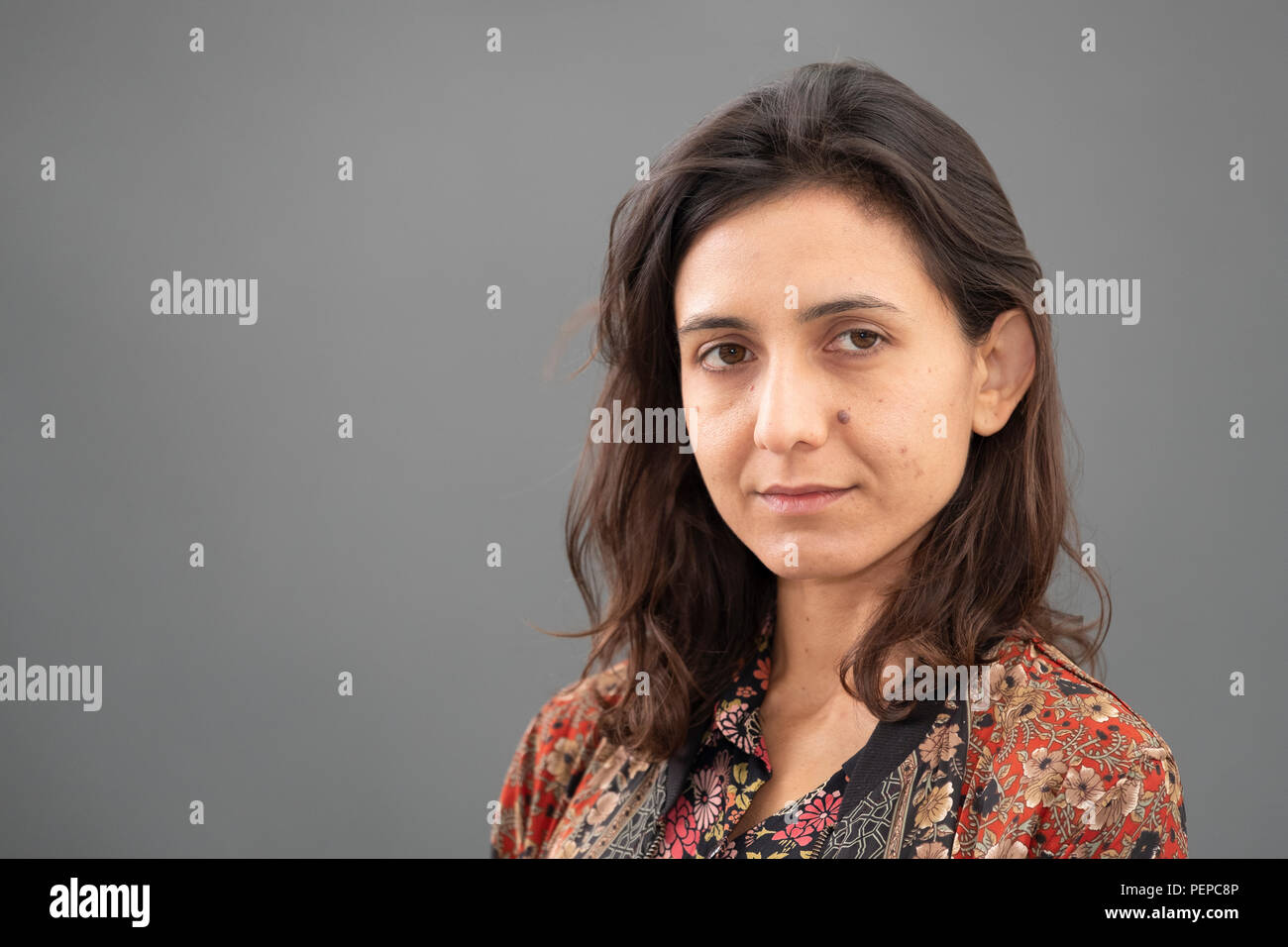 """Edinburgh, Scotland, UK; 17 August, 2018. Pictured; Author  Ottessa Moshfegh. Follows her Man Booker shortlisted novel with """"My Year of Rest and Relaxation"""" a blackly comical tale of drug-fuelled alienation in Manhattan shortly before 9/11. Credit: Iain Masterton/Alamy Live News Stock Photo"""